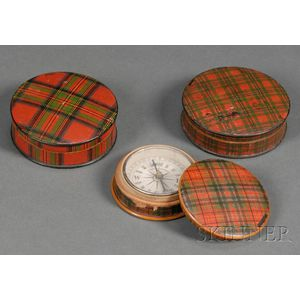 Three Small Round Tartanware Covered Boxes