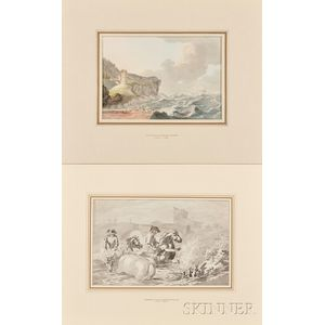 Two Unframed 18th Century Works on Paper:, Attributed to Dominic Serres (French [working in England], 1722-1793), Rescue from Shore in