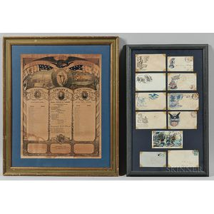 Eleven Framed Civil War Pictorial Envelopes and a Soldiers Memorial Print
