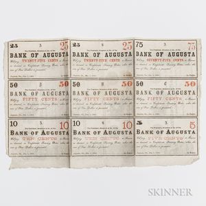 Bank of Augusta Obsolete Bank Note Uncut Sheet