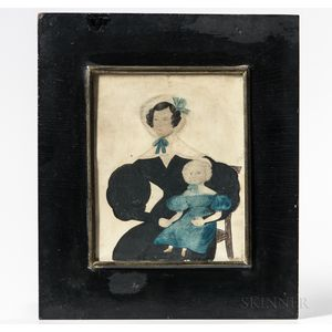 American School, Mid-19th Century      Portrait of a Woman Holding a Child on Her Knee