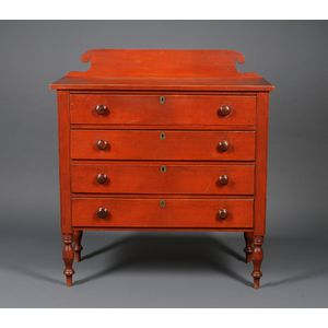 Country Empire Red-painted Maple Four-Drawer Bureau