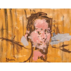Jack Levine (American, 1915-2010)      Study for Adam & Eve ,  Head of Adam