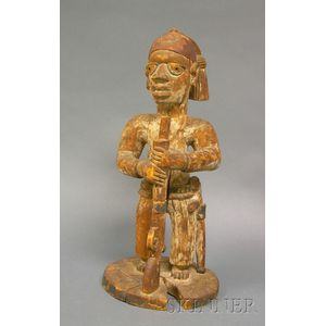 African Carved Wood Colonial Figure