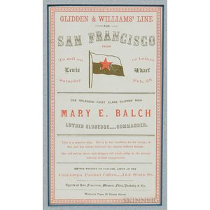 Collection of Twelve Sailing Cards for the Clipper Ships of the Glidden & Williams Line for San Francisco
