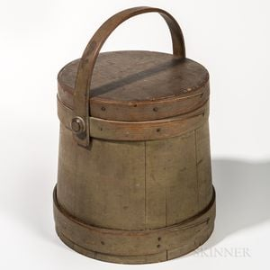 Gray-painted Lidded Pail