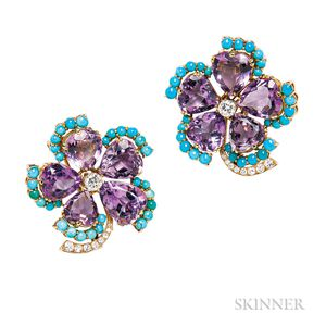 Pair of 18kt Gold, Amethyst, Turquoise, and Diamond Clip Brooches