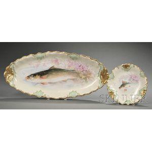 Eleven-piece Limoges Porcelain Fish Service