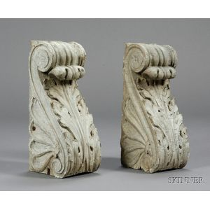 Pair of Classical Carved Wooden Brackets