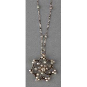 Edwardian Pearl and Diamond Pendant