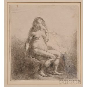 Rembrandt van Rijn (Dutch, 1606-1669)      Naked Woman Seated on a Mound