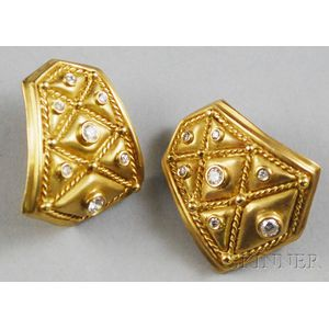 "18kt Gold and Diamond Athena ""Quilted"" Earrings"