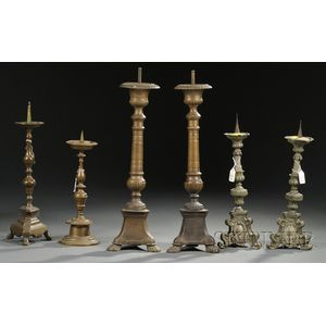 Six Assorted Metal Pricket Candlesticks