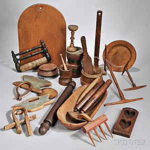 Collection of Early Household Wooden Items
