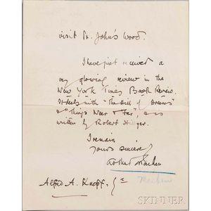 Machen, Arthur (1863-1947) Three Autograph Letters Signed, 1923.