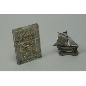 Asian Silver Filigree Card Case and a Miniature Silver Filigree Sail Boat Figural.