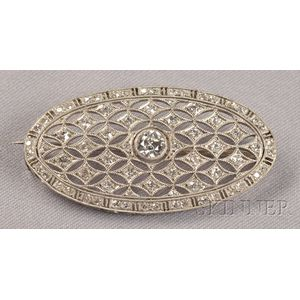 Art Deco Platinum and Diamond Brooch