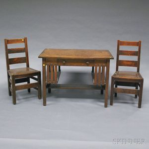"Arts & Crafts Oak Desk and Two ""Quaint Furniture"" Stickley Bros. Chairs.     Estimate $200-300"