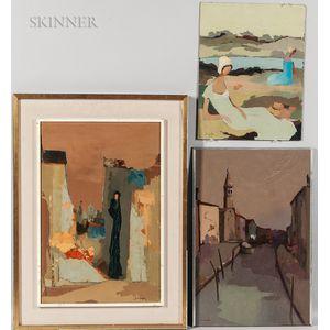 Mario Sinigaglia (Argentine, 20th Century)      Three Paintings: La Dama Triste ,  Town View with Canal