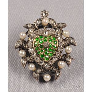 Antique Demantoid Garnet, Diamond, and Seed Pearl Pendant/Brooch