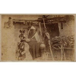 Cabinet Card Photograph of Zuni Girls in Front of a Pueblo