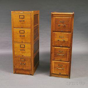 Two Paneled Oak File Cabinets