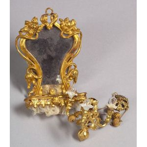 Ormolu Doll House Chandelier and Console Mirror