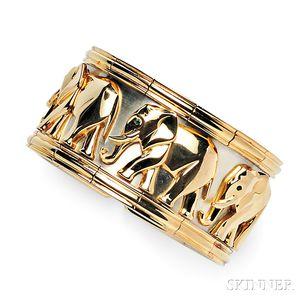 18kt Gold Elephant Cuff Bracelet, Cartier