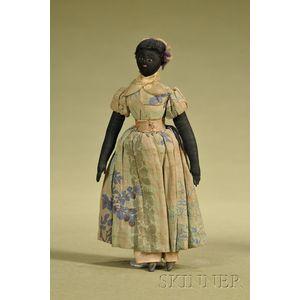 Folk Art Cloth Black Doll