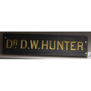 Carved and Painted Wooden Trade Sign, Dr. D. W. Hunter.