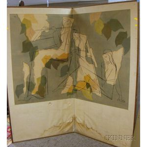 Modern Japanese Two-Panel Painted Silk Floor Screen with Figures