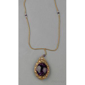 18kt Gold, Amethyst, and Diamond Pendant