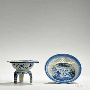 Two Export Blue and White Porcelain Items