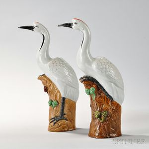 Pair of Porcelain Figures of Cranes