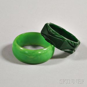 Two Green Bakelite Bangles