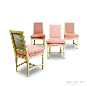 Set of Four Louis XVI-style Painted and Upholstered Side Chairs