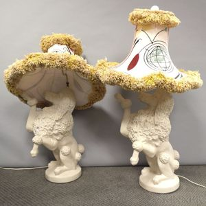 Pair of Plaster Poodle Lamps