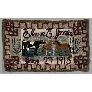 Hooked Wool and Cotton Rug with Cows and Horses