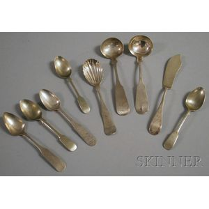 Nine Pieces of Coin Silver Flatware