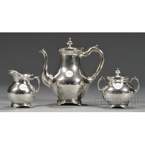 Mexican Sterling Three-piece Tea Set