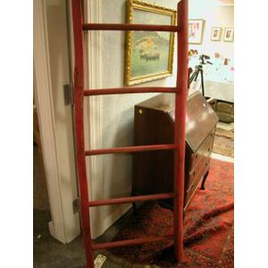 Red Painted Rustic Ladder.