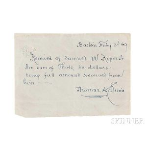 Edison, Thomas Alva (1847-1931) Autograph Document Signed, Boston, 3 February 1869.