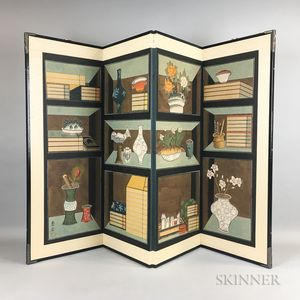 Contemporary Four-panel Chaekgeori   Folding Screen