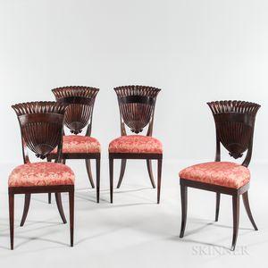 Four Mahogany and Mahogany-veneered Shell-back Side Chairs