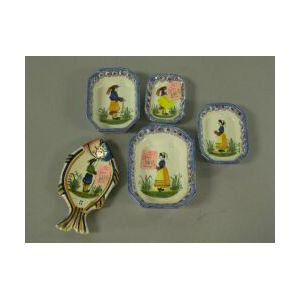 Quimper Pottery Nest of Four Small Dishes and a Fish-form Spoon Rest.
