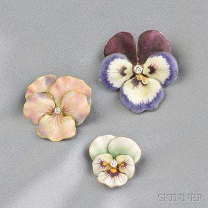 Three Art Nouveau Enamel and Diamond Pansy Brooches