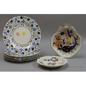 Set of Six Wedgwood Silver Foil and Blue Plates and Two European Open Dishes