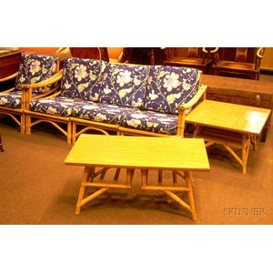 Six Piece Set Of Mid Century Calif Asia Rattan Furniture