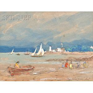 Reynolds Beal (American, 1867-1951)      Picnic at Wingaersheek  Beach