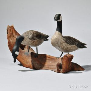 Carved and Painted Wood Figure of a Pair of Canada Geese